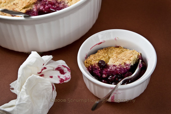 cobbler and serving of cobbler in ramekin