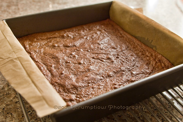 baked brownie layer