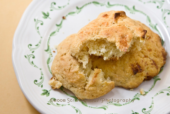 scone, broken in half