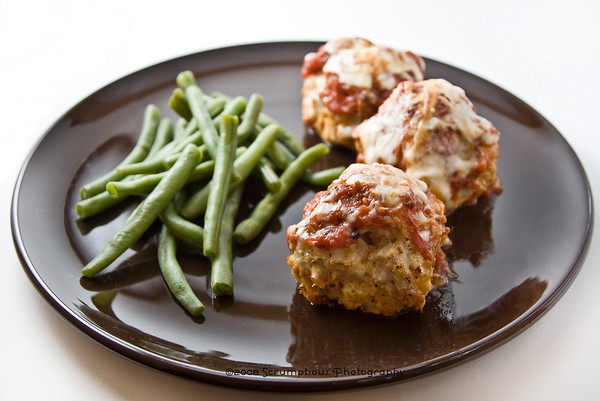 whole dish with meatballs and green beans