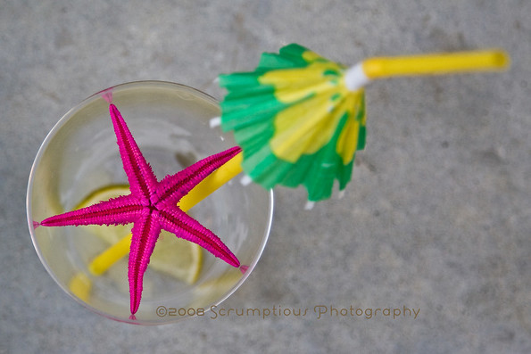 umbrella drink with starfish