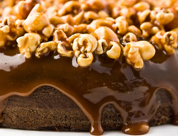brownie cake with caramel drizzles - closeup