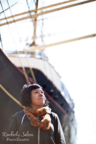 Meredith in front of boat - NYC portrait