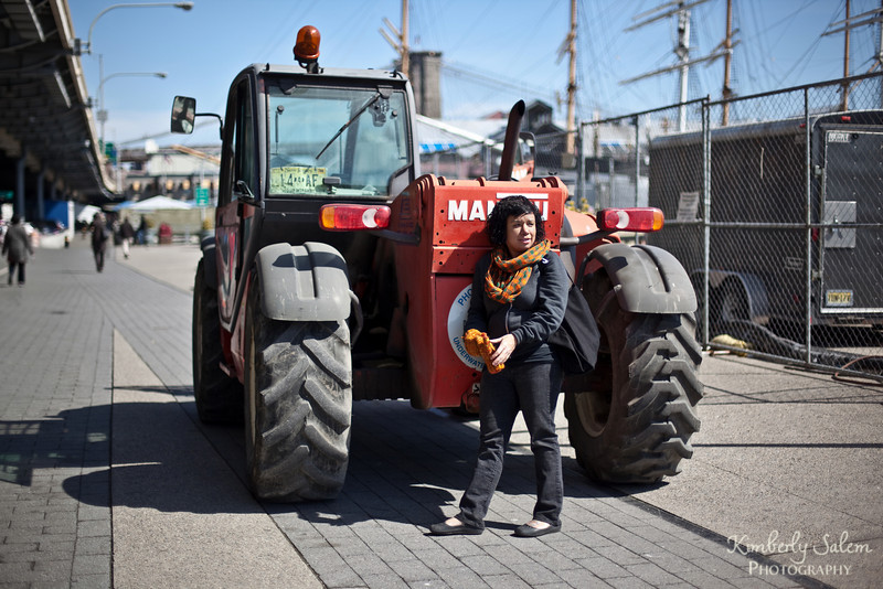 Meredith in front of tractor - NYC portrait