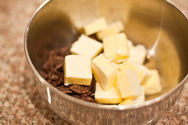 chocolate and butter in bowl