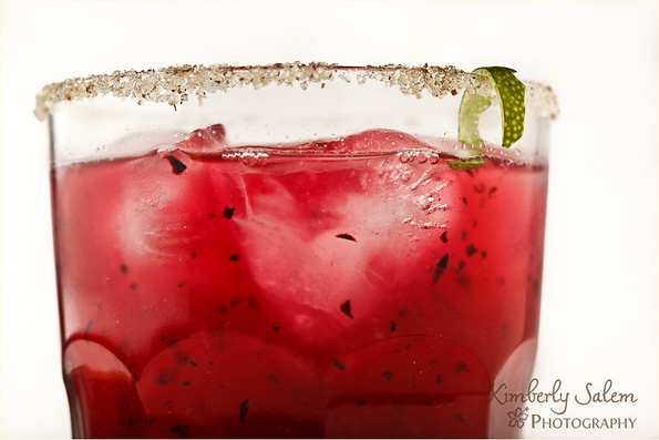 close up of blueberry margarita