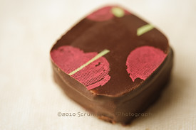 pink painted chocolate truffle