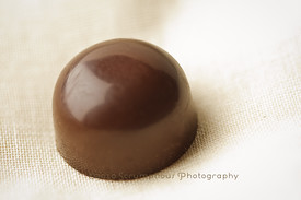 round caramel chocolate truffle